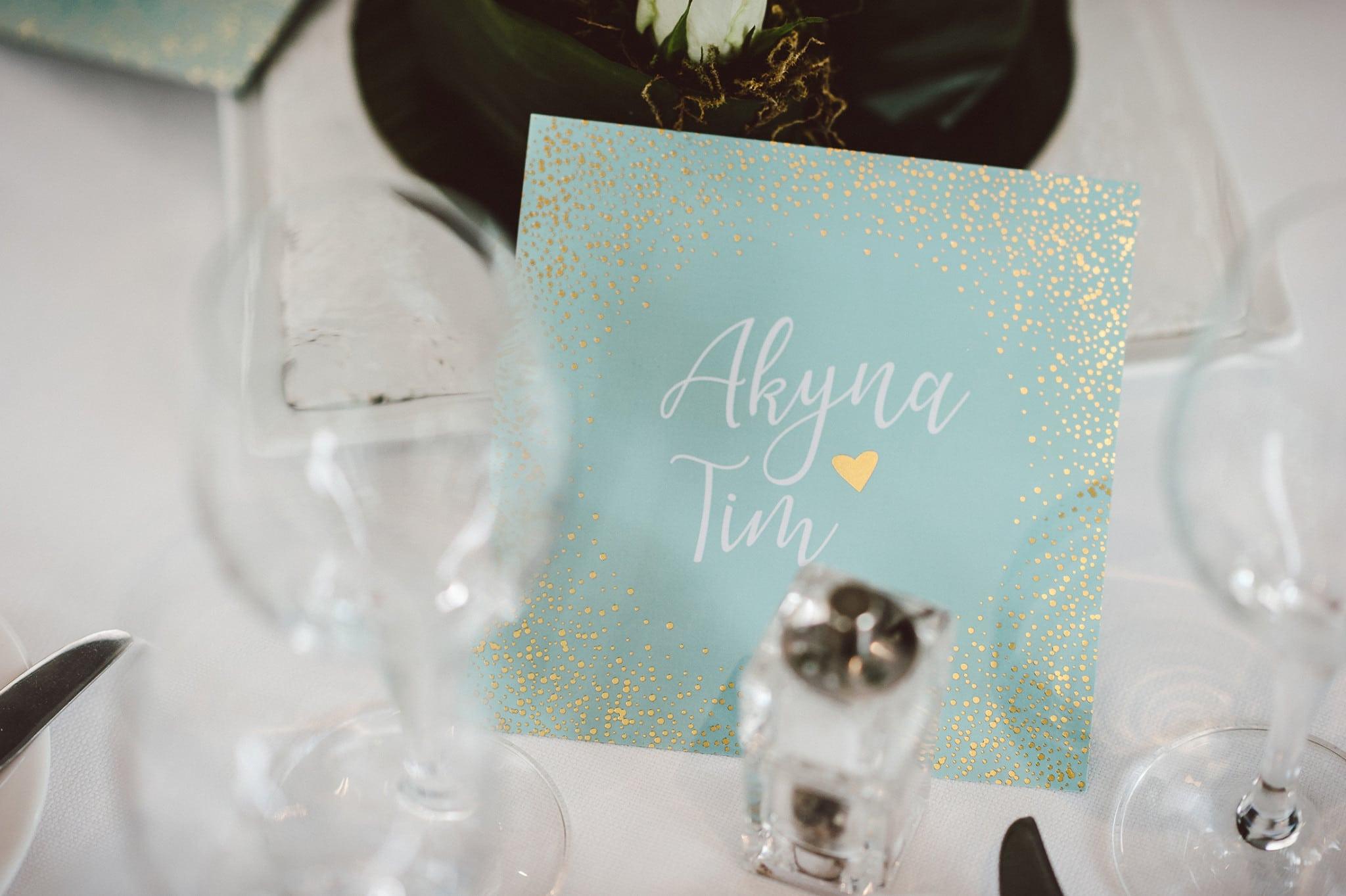 Menukaart huwelijk Akyna & Tim